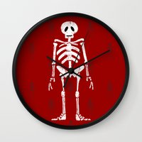 skeleton Wall Clocks featuring Skeleton by Emma Harckham