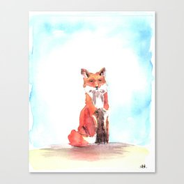 red fox in watercolor Canvas Print