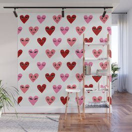 Heart love valentines day gifts hearts with faces cute valentine red and pink Wall Mural