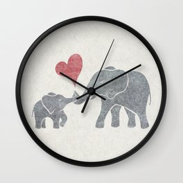 Elephant Hugs with Heart in Muted Gray and Red Wall Clock
