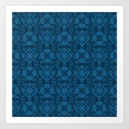 Blue patchwork 2 Art Print