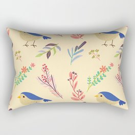 Cute hand painted blue coral ivory bird floral pattern Rectangular Pillow