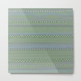 Green with Stripes and Dots Metal Print