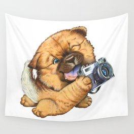 A little dog holding a camera Wall Tapestry