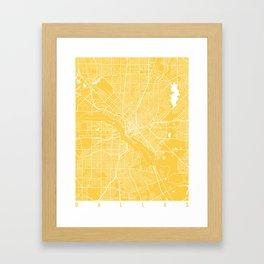 Dallas map yellow Framed Art Print