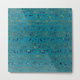 Egyptian hieroglyphs on teal leather texture Metal Print
