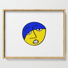 Colored Sad Man' Face Serving Tray