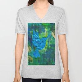 Humming Bird - Blue and Green Unisex V-Neck