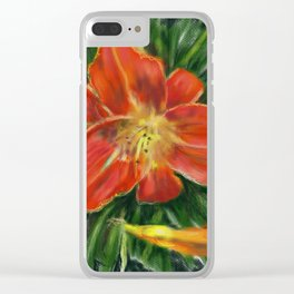 Red Daylily Clear iPhone Case