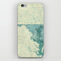 maryland iPhone & iPod Skins featuring Maryland State Map Blue Vintage by City Art Posters