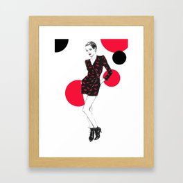 Fashion illustration . Saint Lauren dress. Framed Art Print