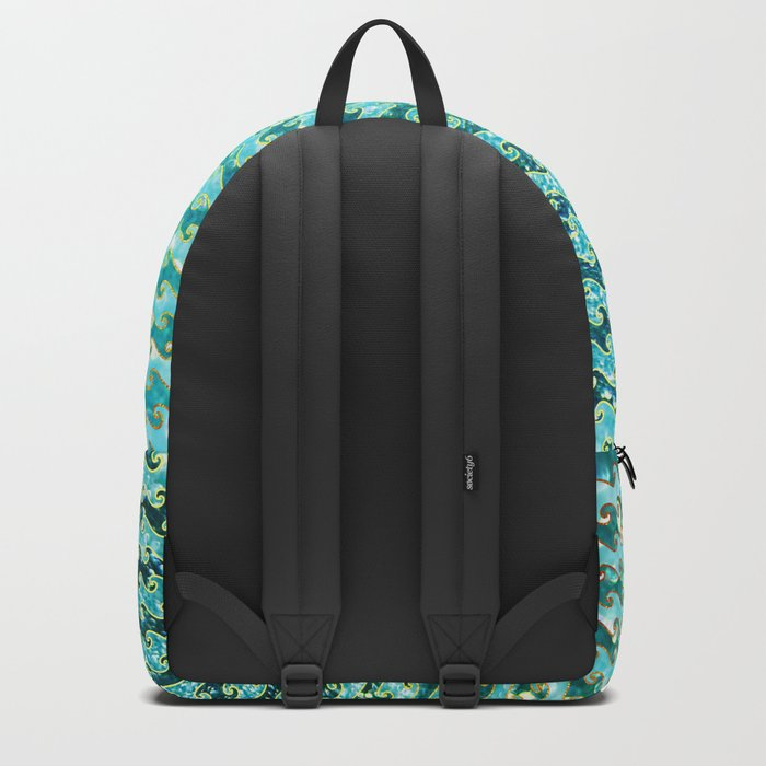 Mermaid Waves and Sea Foam, Sun Light over the Ocean Backpack