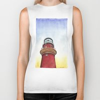 lighthouse Biker Tanks featuring Lighthouse by Jackie Sullivan