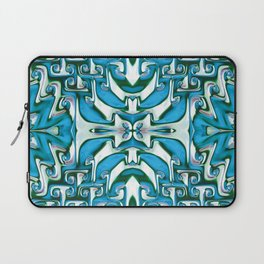 Blue and White Spiral Bends Laptop Sleeve