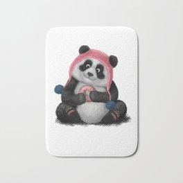 Panda eating a donut Bath Mat