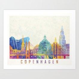 Copenhagen landmarks watercolor poster Art Print