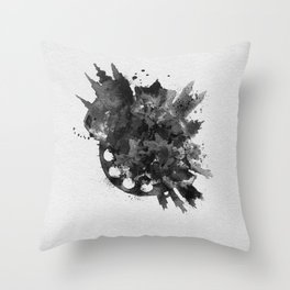 Prague, Czech Republic Black and White Skyround / Skyline Watercolor Painting Throw Pillow