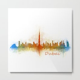 Dubai, emirates, City Cityscape Skyline watercolor art v3 Metal Print