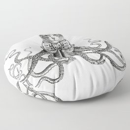 Octopussy | Hybrid Cat and Octopus | Vintage Animals | Black and White | Floor Pillow