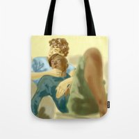 les mis Tote Bags featuring Sleepy Les Miserables by Pruoviare