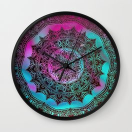 Ultra Violet And Teal Mandala Wall Clock