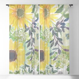 sunflowers with zinnia: floral pattern Sheer Curtain