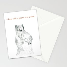 A bear with a beer and a beard Stationery Cards