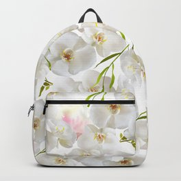Elegant white orchid blush pink watercolor floral Backpack