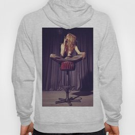 relaxed on the bar stool - Naked women Hoody