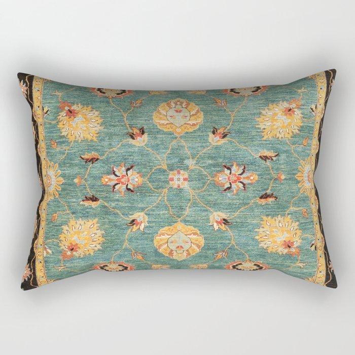 Oushak  Antique Gold Teal Turkish Rug Print Rectangular Pillow