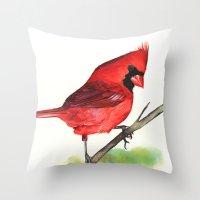 cardinal Throw Pillows featuring Cardinal by LouiseDemasi