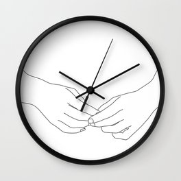 Hands line drawing illustration - Chiyo Wall Clock
