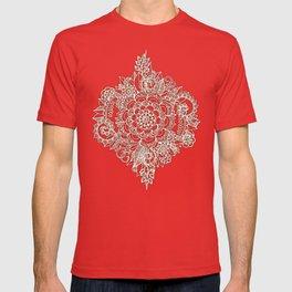 Cream Floral Moroccan Pattern on Deep Indigo Ink T-shirt