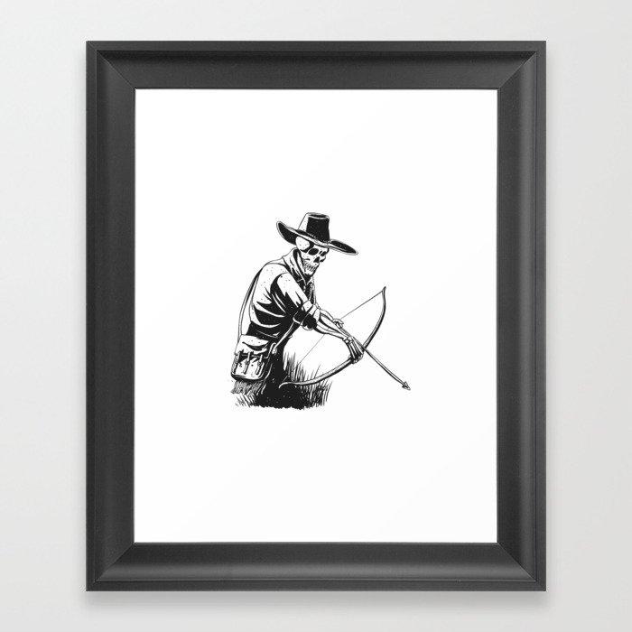 Cowboy skeleton with crossbow - black and white - gothic skull cartoon - ghost silhouette Gerahmter Kunstdruck