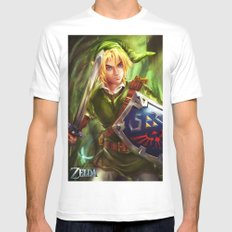 Link - Legend of Zelda MEDIUM White Mens Fitted Tee