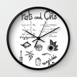 Fats & Oils - Food & Chemistry [Doodle & Handlettering] Wall Clock