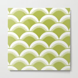 Japanese Fan Pattern Chartreuse Metal Print