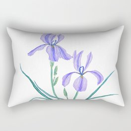 vintage purple iris watercolor Rectangular Pillow