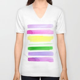 Watercolour Stripes no 4 Unisex V-Neck