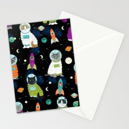 Space Cats pet portraits cute cat gifts cat lady outer space cadet rockets Stationery Cards