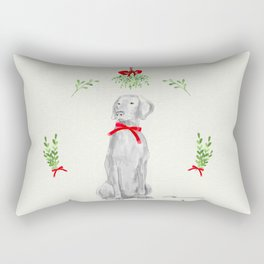 WEIMARANER UNDER THE MISTLETOE Rectangular Pillow