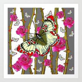 ORIENTAL STYLE BUTTERFLY & PINK ROSES GREY PATTERN DESIGN Art Print