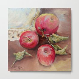 RED APPLES on the table Metal Print