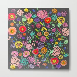 Floral Doodle in Bright Multicolor on Charcoal Background Metal Print
