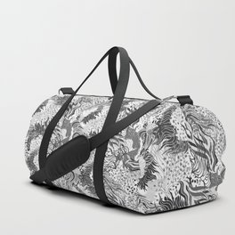 cute seamless abstract grass flower line pattern black white Duffle Bag