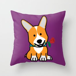 Corgi dog puppy Pembroke Welsh Valentine Rose Throw Pillow