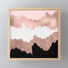 Girly Modern Rose Gold Pink Glitter Brushstroke Art Framed Mini Art Print