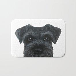 Black Schnauzer, Dog illustration original painting print Bath Mat