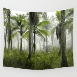 Foggy Palm Forest Wall Tapestry
