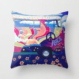 Hippie Camper Van Throw Pillow